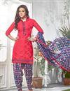 image of Pink Color Party Wear Patiala Style Cotton Salwar Kameez