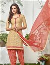 image of Party Wear Cotton Fabric Patiala Salwar Suit In Cream Color