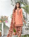 image of Peach Color Party Wear Patiala Style Cotton Salwar Kameez