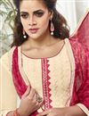 photo of Cream Color Party Wear Patiala Style Cotton Salwar Kameez