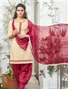 image of Cream Color Party Wear Patiala Style Cotton Salwar Kameez