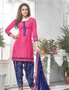 image of Party Wear Cotton Fabric Patiala Salwar Suit In Pink Color