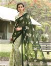 image of Printed Party Wear Fancy Chiffon Fabric Saree In Green And Off White Color