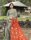 image of Printed Party Wear Orange And Cream Color Saree In Chiffon Fabric