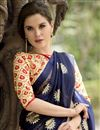 photo of Cream And Blue Color Printed Party Wear Chiffon Fabric Saree