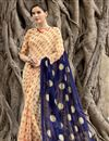 image of Printed Party Wear Cream And Blue Color Saree In Chiffon Fabric