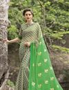 image of Green Color Fancy Print Party Saree In Chiffon Fabric