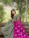 photo of Pink And Black Color Fancy Print Party Wear Chiffon Fabric Saree