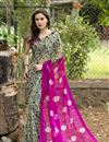 image of Pink And Black Color Fancy Print Party Wear Chiffon Fabric Saree