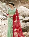 image of Printed Party Wear Fancy Chiffon Fabric Saree In Green And Maroon Color