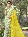 image of Printed Party Wear Fancy Chiffon Fabric Saree In Yellow Color