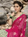 photo of Printed Party Wear Fancy Chiffon Fabric Saree In Pink And Cream Color