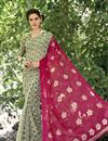 image of Printed Party Wear Fancy Chiffon Fabric Saree In Pink And Cream Color