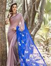 image of Printed Party Wear Blue And Peach Color Saree In Chiffon Fabric