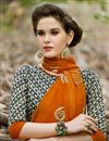 photo of Party Wear Orange And Cream Color Fancy Saree In Chiffon Fabric