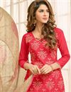 photo of Red Color Straight Cut Chanderi Fabric Dress Material
