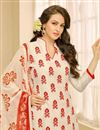 photo of Casual Printed Chanderi Fabric Straight Cut Salwar Suit In Off White Color