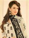 photo of Cream Color Straight Cut Casual Wear Chanderi Salwar Kameez