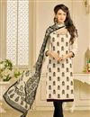 image of Casual Printed Chanderi Fabric Straight Cut Salwar Suit In Cream Color