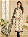 image of Casual Wear Chanderi Fabric Salwar Suit In Cream Color