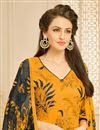 photo of Orange Color Casual Wear Printed Chanderi Dress Material