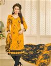 image of Orange Color Casual Wear Printed Chanderi Dress Material