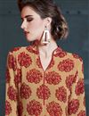 photo of Party Wear Digital Print Georgette Fabric Kurti In Beige Color