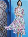 image of Off White Color Digital Print Party Wear Georgette Fabric Kurti