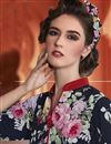 photo of Crepe Fabric Party Wear Digital Print Kurti In Navy Blue Color