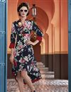 image of Digital Print Party Wear Crepe Fabric Kurti In Navy Blue Color