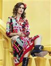 photo of Party Wear Digital Print Crepe Fabric Kurti In Grey Color