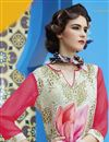 photo of Digital Print Party Wear Crepe Fabric Kurti In Pink And Cream Color