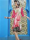 image of Digital Print Party Wear Crepe Fabric Kurti In Pink And Cream Color