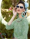 photo of Party Wear Digital Print Crepe Fabric Kurti In Green Color