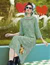 image of Party Wear Digital Print Crepe Fabric Kurti In Green Color