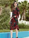 photo of Crepe Fabric Party Wear Digital Print Kurti In Black Color