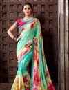 image of Charming Cyan And Cream Designer Printed Saree