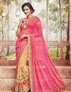 image of Pink And Beige Color Soothing Georgette Fabric Designer Saree With Embroidery