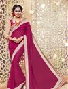 image of Pink Color Soothing Georgette Fabric Designer Saree With Embroidery