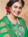 photo of Magnetic Georgette Fabric Designer Green Color Party Wear Saree