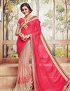 image of Marvelous Pink And Peach Color Designer Saree In Georgette Fabric