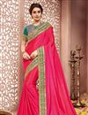 image of Pink Color Traditional Party Wear Silk Fabric Saree
