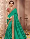 image of Traditional Silk Fabric Saree In Green Color With Silk Blouse