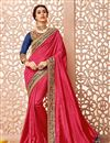 image of Silk Fabric Party Wear Saree In Pink Color With Blouse