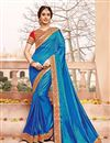 image of Blue Color Party Wear Silk Fabric Designer Saree