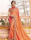 image of Traditional Party Wear Silk Saree In Orange Color