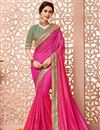 image of Designer Party Wear Silk Fabric Saree In Pink Color