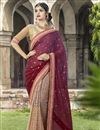 image of Maroon Color Designer Embroidered Saree In Georgette Fabric