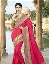 image of Pink Color Stylish Party Wear Designer Saree In Georgette Fabric