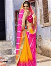 image of Alluring Pink And Orange Color Designer Party Wear Silk And Chiffon Saree